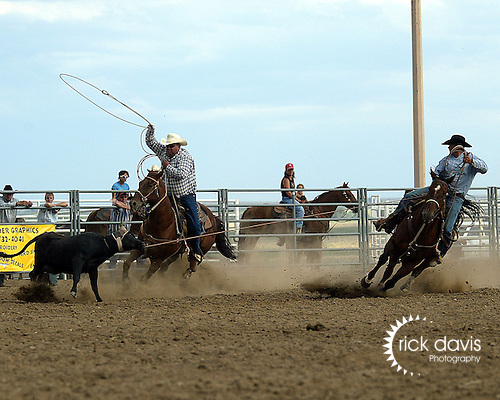 Team Ropers Dustin Park and Kyle Malone compete at the Southeast Weld County CPRA Rodeo in Keenesburg, Colorado on August 12, 2006.