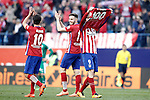 Fernando Torres celebrates his goal 100 with Atletico de Madrid in presence of Oliver Torres (l) and Saul Niguez during La Liga match. February 6,2016. (ALTERPHOTOS/Acero)