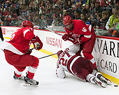 Connor Murphy (Cornell - 12), Viktor Dombrovskiy (Harvard - 27), Matt Buckles (Cornell - 16) - The Harvard University Crimson defeated the visiting Cornell University Big Red on Saturday, November 5, 2016, at the Bright-Landry Hockey Center in Boston, Massachusetts.
