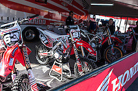Honda box at Spanish Motocross Championship at Albaida circuit (Spain), 22-23 February 2014