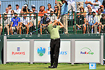 30 August 2009: Heath Slocum tees off on the 1st tee in the final round of The Barclays PGA Playoffs at Liberty National Golf Course in Jersey City, New Jersey.