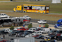 Apr 28, 2007; Talladega, AL, USA; The hauler of Nascar Nextel Cup Series driver Dave Blaney (22) leaves the track after failing to qualify for the Aarons 499 at Talladega Superspeedway. Mandatory Credit: Mark J. Rebilas