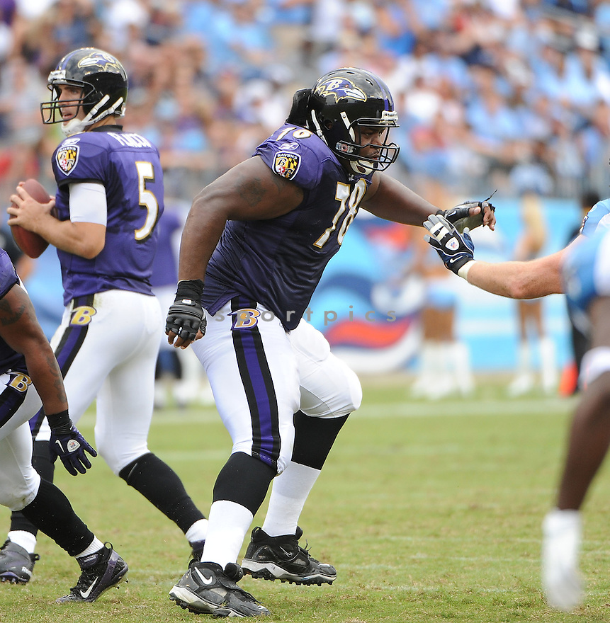 BRYANT MCKINNIE, of the Baltimore Ravens, in action, during the Ravens game against the Tennessee Titans on September 18, 2011 at LP Field in Nashville, TN. The Titans beat the Ravens 26-13.
