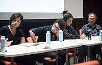 "The Japanese/Muslim American Experience Roundtable: When are We greater than Me? panelists, from left, Los Angeles-based Muslim American activists Marwa Abdelghani and Tanzila ""Taz"" Ahmed, Occidental College students Karim Sharif '18 and Rosie Yasukochi '18 and Phil Shigekuni, who was incarcerated at Camp Amache, CO. Thursday, April 13, 2017 in Choi Auditorium at Occidental College in Eagle Rock, Los Angeles.<br /> The panel and workshop was part of the series ""The 75th Anniversary of The Japanese American Incarceration: Never Again"" and History Department's Spring series entitled, ""We the People?""<br /> This event was planned and organized by the members of associate professor Paul Nam's HIST248: Modern Japan as part of our unit on the incarceration of Japanese and Japanese American during WWII by the US government. It is the culmination of this unit, which was preceded by a field trip to the Japanese American National Museum in Little Tokyo; a trip to Oxy's Special Collections and Archives, and an overnight field trip to Manzanar, CA.<br /> (Photo by Marc Campos, Occidental College Photographer)"