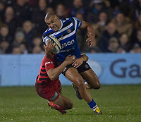 Bath Rugby's Jonathan Joseph in action during todays match<br /> <br /> Photographer Bob Bradford/CameraSport<br /> <br /> Gallagher Premiership - Bath Rugby v Saracens - Friday 8th March 2019 - The Recreation Ground - Bath<br /> <br /> World Copyright © 2019 CameraSport. All rights reserved. 43 Linden Ave. Countesthorpe. Leicester. England. LE8 5PG - Tel: +44 (0) 116 277 4147 - admin@camerasport.com - www.camerasport.com