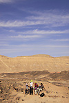 Israel, Negev desert, Wadi Adom in Ramon Crater, Mount Ardon is in the background