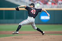 Texas Tech Red Raiders pitcher Bryce Bonnin (40) delivers a pitch to the plate during Game 9 of the NCAA College World Series against the Florida State Seminoles on June 19, 2019 at TD Ameritrade Park in Omaha, Nebraska. Texas Tech defeated Florida State State 4-1. (Andrew Woolley/Four Seam Images)