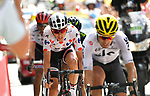 Polka Dot Jersey Warren Barguil (FRA) Team Sunweb closes in on Mikel Landa (ESP) Team Sky to win Stage 13 of the 104th edition of the Tour de France 2017, running 101km from Saint-Girons to Foix, France. 14th July 2017.<br /> Picture: ASO/Bruno Bade | Cyclefile<br /> <br /> <br /> All photos usage must carry mandatory copyright credit (&copy; Cyclefile | ASO/Bruno Bade)
