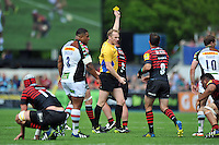 Referee Wayne Barnes issues a yellow card to Marcelo Bosch for a dangerous tackle. Aviva Premiership semi final, between Saracens and Harlequins on May 17, 2014 at Allianz Park in London, England. Photo by: Patrick Khachfe / JMP
