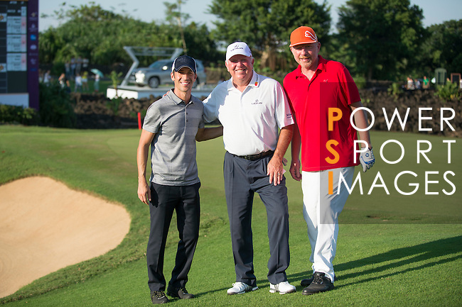 Boris Becker (in red), Mark O'Meara (in white), Luis Garcia (in grey) during the World Celebrity Pro-Am 2016 Mission Hills China Golf Tournament on 22 October 2016, in Haikou, China. Photo by Marcio Machado / Power Sport Images