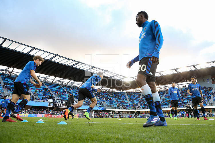 San Jose, CA - Saturday April 08, 2017: Florian Jungwirth, Shaun Francis  prior to a Major League Soccer (MLS) match between the San Jose Earthquakes and the Seattle Sounders FC at Avaya Stadium.