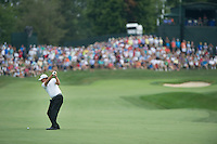 Phil Mickelson hits his approach into the 18th green during the opening round of the US PGA Championship at Valhalla (Photo: Anthony Powter) Picture: Anthony Powter / www.golffile.ie