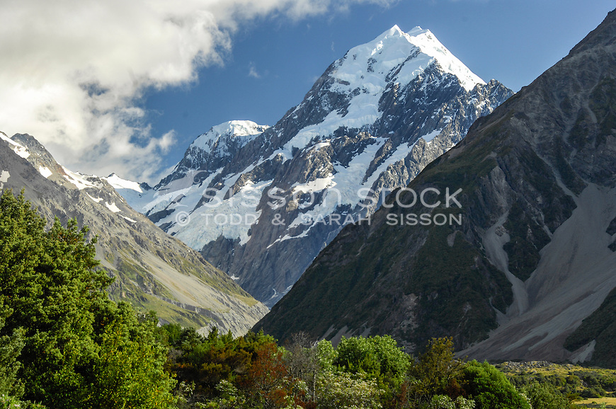 Close up view of Aoraki / Mt Cook peak from The Hermitage Hotel, South Island NZ.