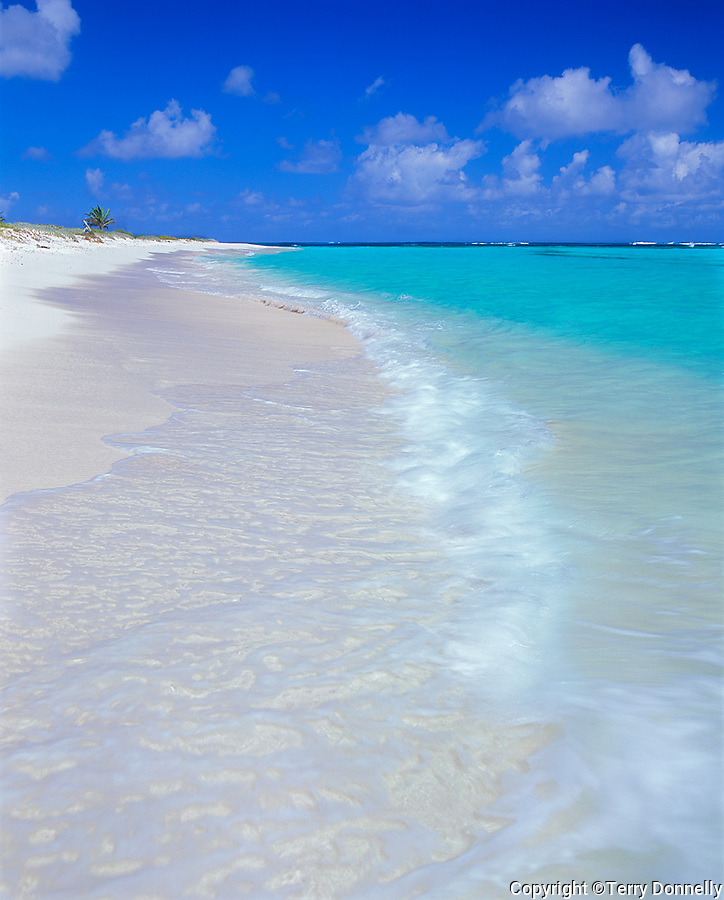 Anguilla, BWI<br /> Calm surf, white sand beach, and turquoise waters of Upper Shoal Bay, Caribbean Sea