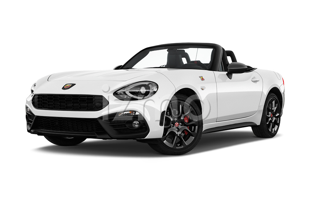 Stock pictures of low aggressive front three quarter view of 2017 Abarth 124 Spider Base 2 Door Convertible