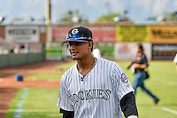 Pioneer League All-Star Jonathan Piron (2) of the Grand Junction Rockies before the game against the Northwest League All-Stars at the 2nd Annual Northwest League-Pioneer League All-Star Game at Lindquist Field on August 2, 2016 in Ogden, Utah. The Northwest League defeated the Pioneer League 11-5. (Stephen Smith/Four Seam Images)