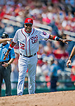 29 April 2017: Washington Nationals Manager Dusty Baker argues a play call during a game against the New York Mets at Nationals Park in Washington, DC. The Mets defeated the Nationals 5-3 to take the second game of their 3-game weekend series. Mandatory Credit: Ed Wolfstein Photo *** RAW (NEF) Image File Available ***