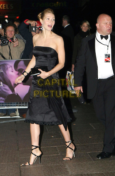 GWYNETH PALTROW.Sylvia UK premiere, part of the Times BFI London Film festival closing night gala.black strapless dress, strappy sandals, full length, full-length.www.capitalpictures.com.sales@capitalpictures.com.© Capital Pictures.