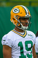 Green Bay Packers wide receiver Malachi Dupre (19) during an Organized Team Activity on May 23, 2017 at Clarke Hinkle Field in Green Bay, Wisconsin.  (Brad Krause/Krause Sports Photography)
