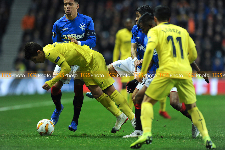Candeias of Rangers was sent off for this challenge on Santiago Caseres of Villarreal CF during Rangers vs Villarreal CF, UEFA Europa League Football at Ibrox Stadium on 29th November 2018