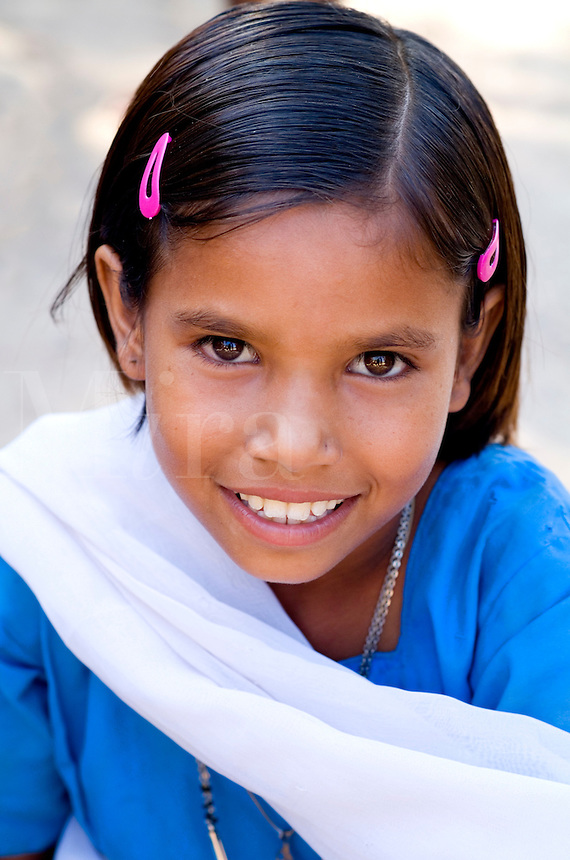 Elementary school girl in uniform, Rinawey Upper Primary School, Rajasthan India