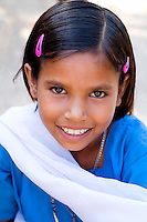 Elementary school girl in uniform, Rinawey Upper Primary School, Rajasthan India