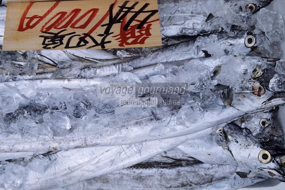 """Asie/Japon/Tokyo/Ueno: Le marché """"Ameyoko"""" - Détail de poissons dans la glace"""