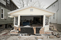 One of the 80 houses destroyed by Hurricane Sandy in Breezy Point, New York.