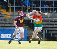 8th March 2020; TEG Cusack Park, Mullingar, Westmeath, Ireland; Allianz League Division 1 Hurling, Westmeath versus Carlow; Darragh Egerton (Westmeath) and Ted Joyce (Carlow) challenge for the ball
