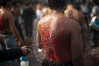 Indian Shiite Muslims take part in a self-flagellation ritual during a religious procession of the Ashura mourning period in New Delhi on December 17, 2010. The religious festival of Ashura, which includes a ten-day mourning period starting on the first day of Muharram on the Islamic calendar, commemorates the seventh-century slaying of Prophet Mohammed's grandson Imam Hussein in Karbala...Photograph by: Niklas Halle'n CHI-photo/Rex Features