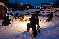 TV and Insider film crews film Joar Leifseth Olsom as he gets ready to leave off of his 24-hour layover from the Takotna checkpoint during the 2019 Iditarod on Wednesday, March 6th 2019.<br /> <br /> Photo by Jeff Schultz/  (C) 2019  ALL RIGHTS RESERVED