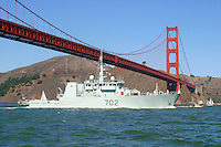 The Royal Canadian Navy coastal defence vessel HMCS Nanaimo, (mm 702), enters San Francisco Bay during 2007 San Francisco Fleet Week activities. The Nanaimo was Commissioned in 1996 and is the second Canadian Warship to carry the name. HMCS Nanaimo is the third of twelve ships built under Candada's Maritime Coastal Defence Vessel Program and the first designated for service in Joint Task Force Pacific. The homeport of the Nanaimo is Nanaimo, British Columbia. Photographed 10/07