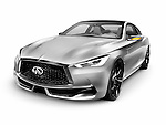 Silver 2015 Infiniti Q60 coupe luxury car isolated on white background with clipping path