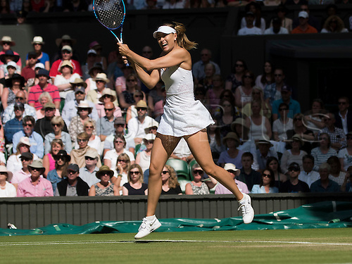 09.07.2015. Wimbledon, England. The Wimbledon Tennis Championships. Ladies Singles semi-final match between top seed Serena Williams (USA) and fourth seed Maria Sharapova (RUS). Maria Sharapova in action