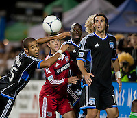 Santa Clara, California - Saturday July 28, 2012: Chicago Fire's Dan Gargan and San Jose Earthquakes' Justin Morrow, Alan Gordon and Ike Opara in action during a game at Buck Shaw Stadium, Stanford, Ca    San Jose Earthquakes and Chicago Fire tied 0 - 0