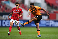 8th July 2020; Ashton Gate Stadium, Bristol, England; English Football League Championship Football, Bristol City versus Hull City; Mallik Wilks of Hull City shoots at goal under pressure from Jamie Paterson of Bristol City