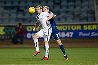 3rd March 2020; Dens Park, Dundee, Scotland; Scottish Championship Football, Dundee FC versus Alloa Athletic; Robert Thomson of Alloa Athletic challenges for the ball with Christophe Berra of Dundee