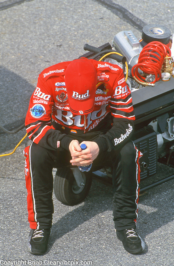 Dale Earnhardt Jr. waits to qualify for his first Daytona 500, Daytona International Speedway, Daytona Beach, FL, February 2000.  (Photo by Brian Cleary/www.bcpix.com)