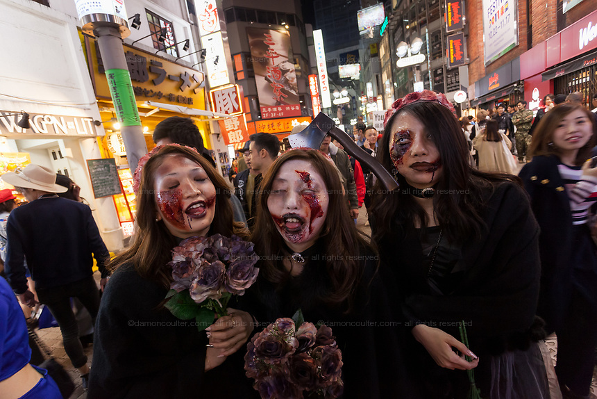 Young Japanese women wearing gothic costumes enjoys Halloween celebrations in Center Gai, Shibuya. Saturday October 28th 2017