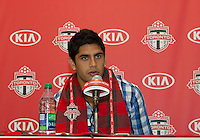 27 April 2013: Toronto FC Designated Player Matias Laba addresses questions from the media during a press conference before an MLS game between the New York Red Bulls and Toronto FC at BMO Field in Toronto, Ontario Canada....