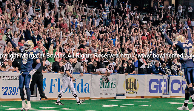 Aug 14, 2010: Tampa Bay Storm fans celebrate a last second victory over the Orlando Predators. The Storm defeated the Predators 63-62 to win the division title at the St. Petersburg Times Forum in Tampa, Florida. (Mandatory Credit:  Margaret Bowles)