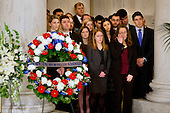 Law clerks and Supreme Court staff watch a private ceremony in the Great Hall of the United States Supreme Court where late Supreme Court Justice Antonin Scalia lies in repose in Washington, DC on Friday, February 19, 2016. <br /> Credit: Jacquelyn Martin / Pool via CNP