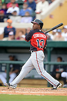 Atlanta Braves outfielder Jose Constanza (13) during a spring training game against the Detroit Tigers on February 27, 2014 at Joker Marchant Stadium in Lakeland, Florida.  Detroit defeated Atlanta 5-2.  (Mike Janes/Four Seam Images)