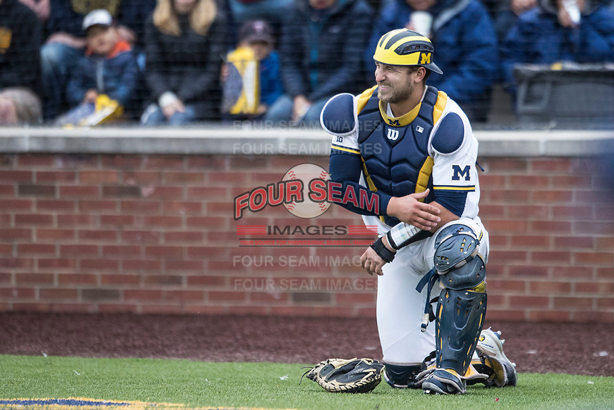 Michigan Wolverines catcher Harrison Wenson (7) grimaces after being hit by a ball against the Michigan State Spartans on May 19, 2017 at Ray Fisher Stadium in Ann Arbor, Michigan. Michigan defeated Michigan State 11-6. (Andrew Woolley/Four Seam Images)