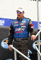 Apr 26, 2008; Talladega, AL, USA; NASCAR Nationwide Series driver Brett Rowe prior to the Aarons 312 at the Talladega Superspeedway. Mandatory Credit: Mark J. Rebilas-
