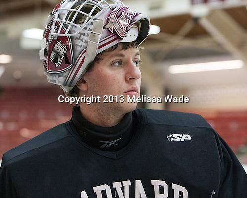 Peter Traber (Harvard - 32) - The Harvard University Crimson practiced on Friday, October 22, 2013, at Bright-Landry Hockey Center in Cambridge, Massachusetts.