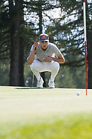 Matthias Schwab (AUT) lines up his putt on the 2nd hole during second round at the Omega European Masters, Golf Club Crans-sur-Sierre, Crans-Montana, Valais, Switzerland. 30/08/19.<br /> Picture Stefano DiMaria / Golffile.ie<br /> <br /> All photo usage must carry mandatory copyright credit (© Golffile | Stefano DiMaria)