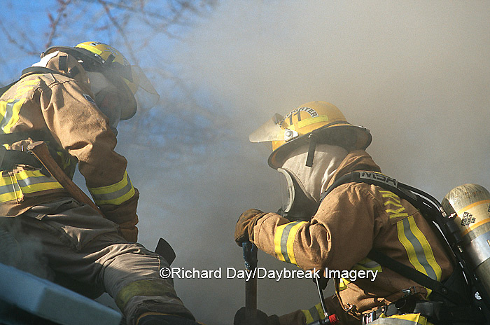 63818-01705 Firefighters ventilating smoke from house fire  Kinmundy-Alma Fire District,  Kinmundy IL
