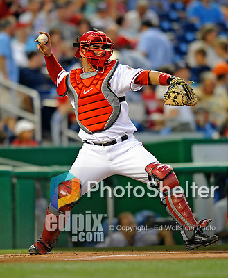15 August 2008: Washington Nationals' catcher Jesus Flores in action against the Colorado Rockies at Nationals Park in Washington, DC.  The Rockies edged out the Nationals 4-3, handing the last place Nationals their 8th consecutive loss. ..Mandatory Photo Credit: Ed Wolfstein Photo