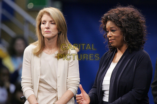 CAROLINE KENNEDY & OPRAH WINFREY.At The GOTV Rally held at UCLA's Pauley Paviliion in Westwood, California, USA, February 03 2008..half length sitting.CAP/DVS.?Debbie VanStory/Capital Pictures